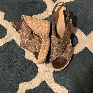Stuart Weitzman olive wedge sandals